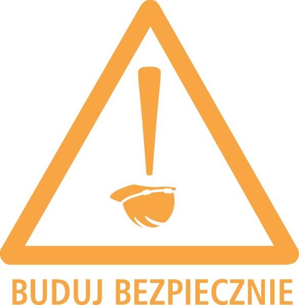 grafika trójkąt ostrzegawczy z podpisem buduj bezpiecznie